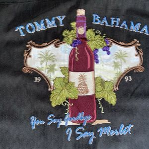 TOMMY BAHAMA BLACK EMBROIDERED WINE MERLOT SHIRT